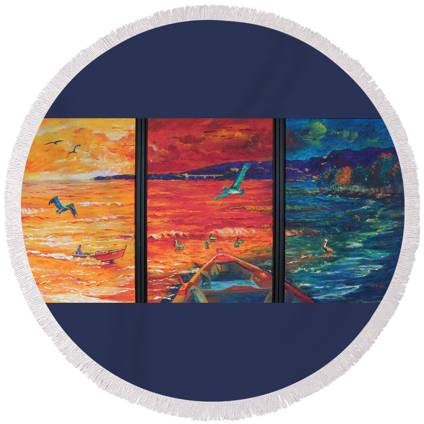 Sea Painting Round Beach Towel featuring the painting Tropical Trance Triptych by Estela Robles Galiano