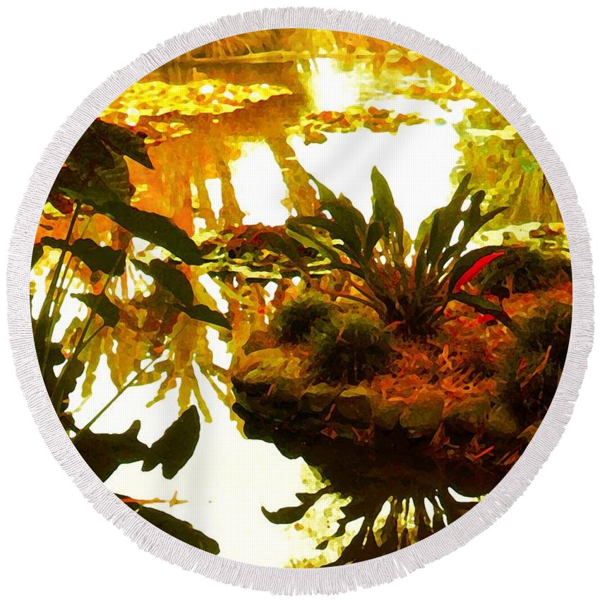 Garden Round Beach Towel featuring the painting Tropical Water Garden by Amy Vangsgard
