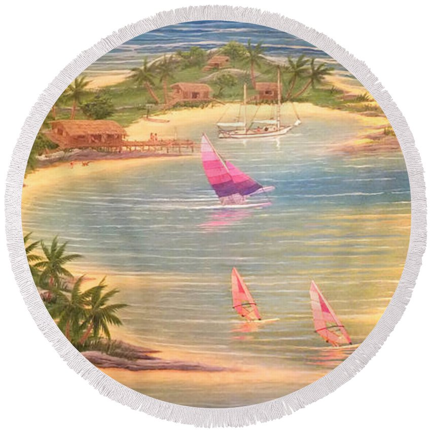 Duane Mccullough Round Beach Towel featuring the painting Tropical Windy Island Paradise by Duane McCullough