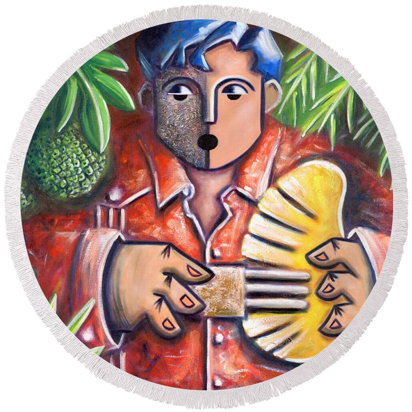 Puerto Rico Round Beach Towel featuring the painting Trovador de la pana by Oscar Ortiz