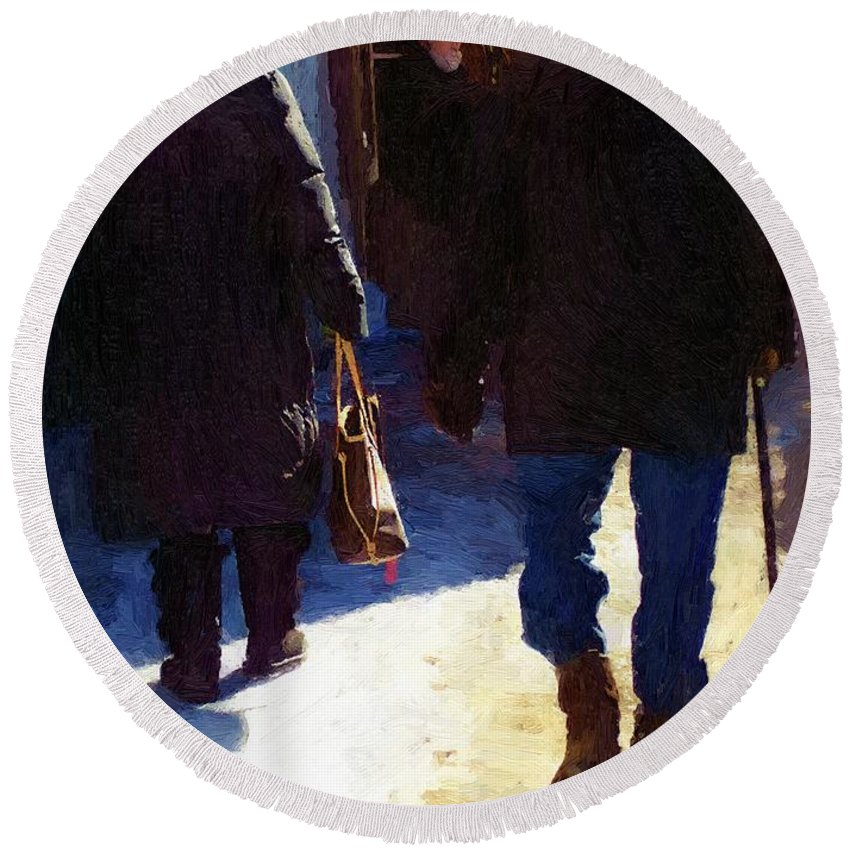 City Round Beach Towel featuring the painting Trudging Along by RC DeWinter
