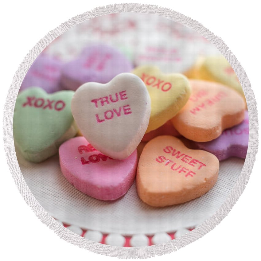 Terry Deluco Round Beach Towel featuring the photograph True Love Valentine Candy Hearts by Terry DeLuco