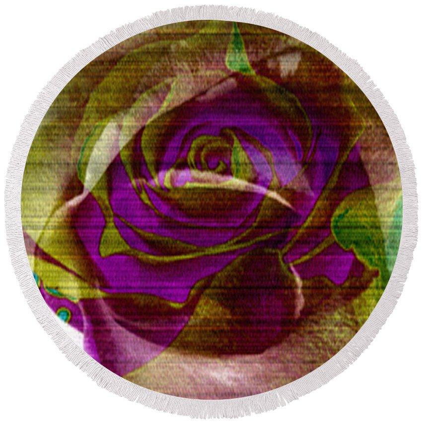 Digital Art Flower Round Beach Towel featuring the digital art True Love by Yael VanGruber