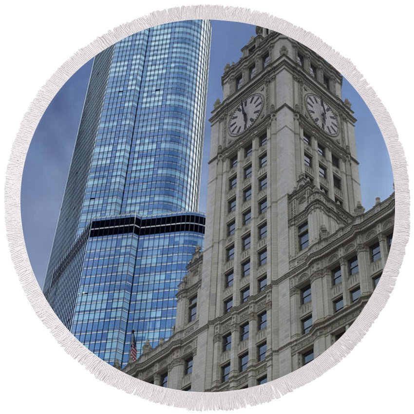 Chicago Round Beach Towel featuring the photograph Trump And Wrigley Facades by Thomas Woolworth