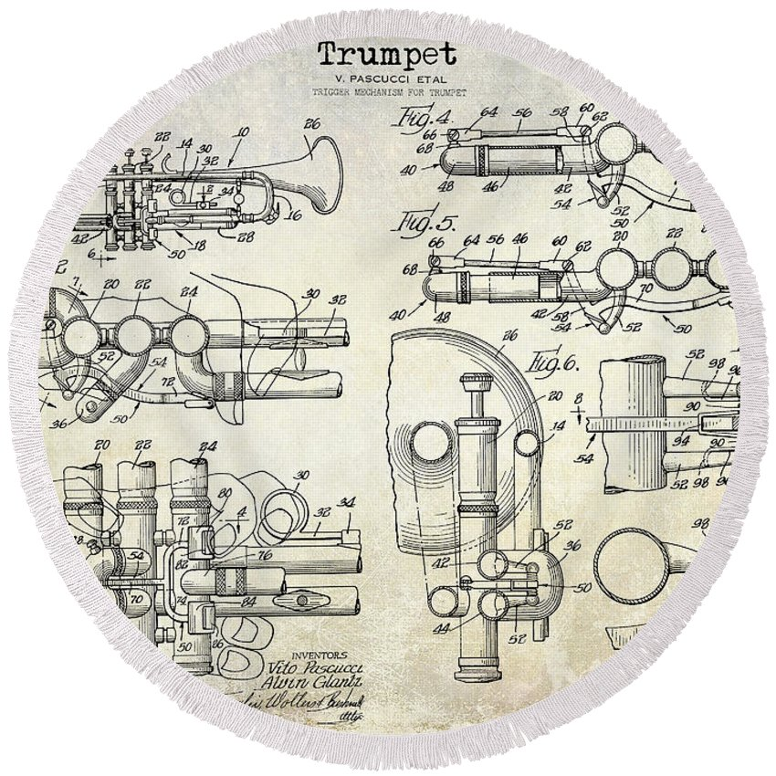 Round Beach Towel featuring the photograph Trumpet Patent Drawing by Jon Neidert