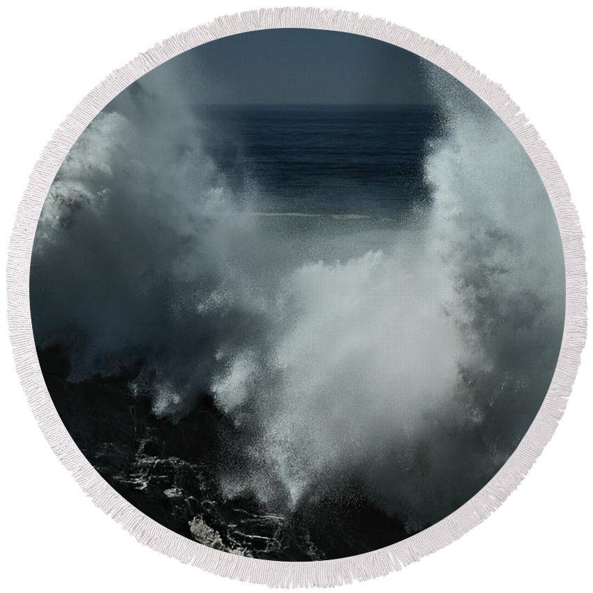 Hurricane Round Beach Towel featuring the photograph Ts Marie At Her Best by Michael Gordon