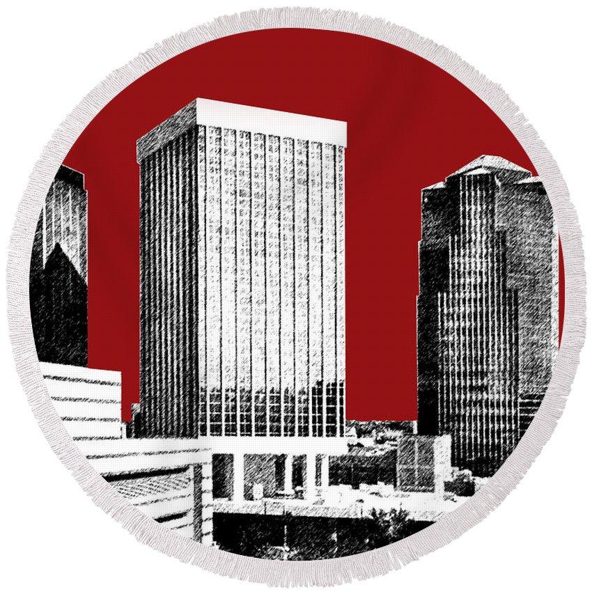 Architecture Round Beach Towel featuring the digital art Tucson Skyline 1 - Dark Red by DB Artist