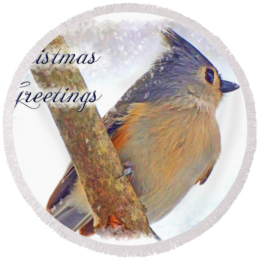 Bird Round Beach Towel featuring the photograph Tufted Titmouse Christmas Card by Debbie Portwood