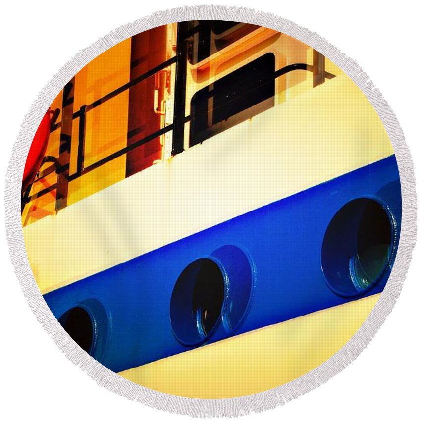 Tug Boat Round Beach Towel featuring the photograph Tug Abstract by David Coleman