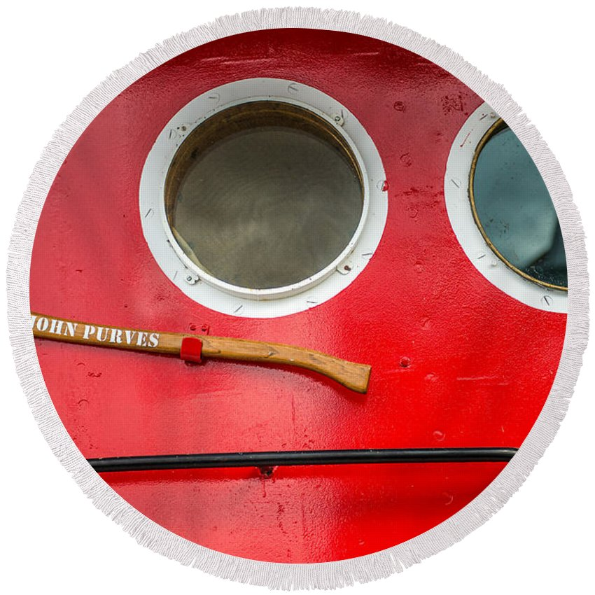 Round Beach Towel featuring the photograph Tug Boat Eyes by Paul Freidlund
