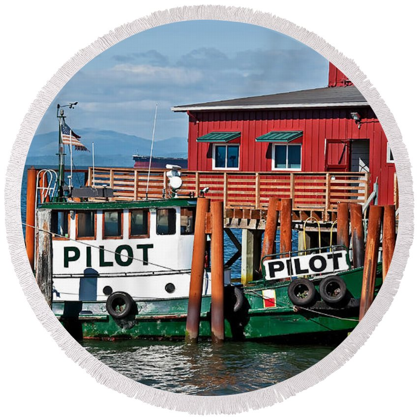 Boat Round Beach Towel featuring the photograph Tug Boat Pilot Docked On Waterfront Art Prints by Valerie Garner
