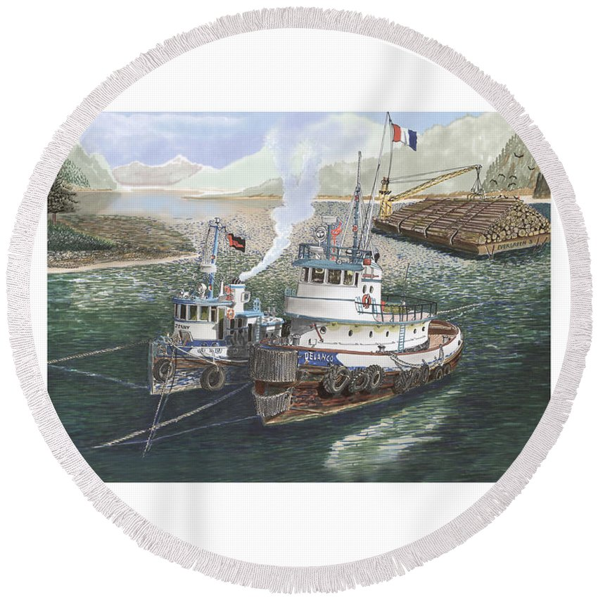 Gale Warning Round Beach Towel featuring the painting Gale Warning Safe Harbor by Jack Pumphrey
