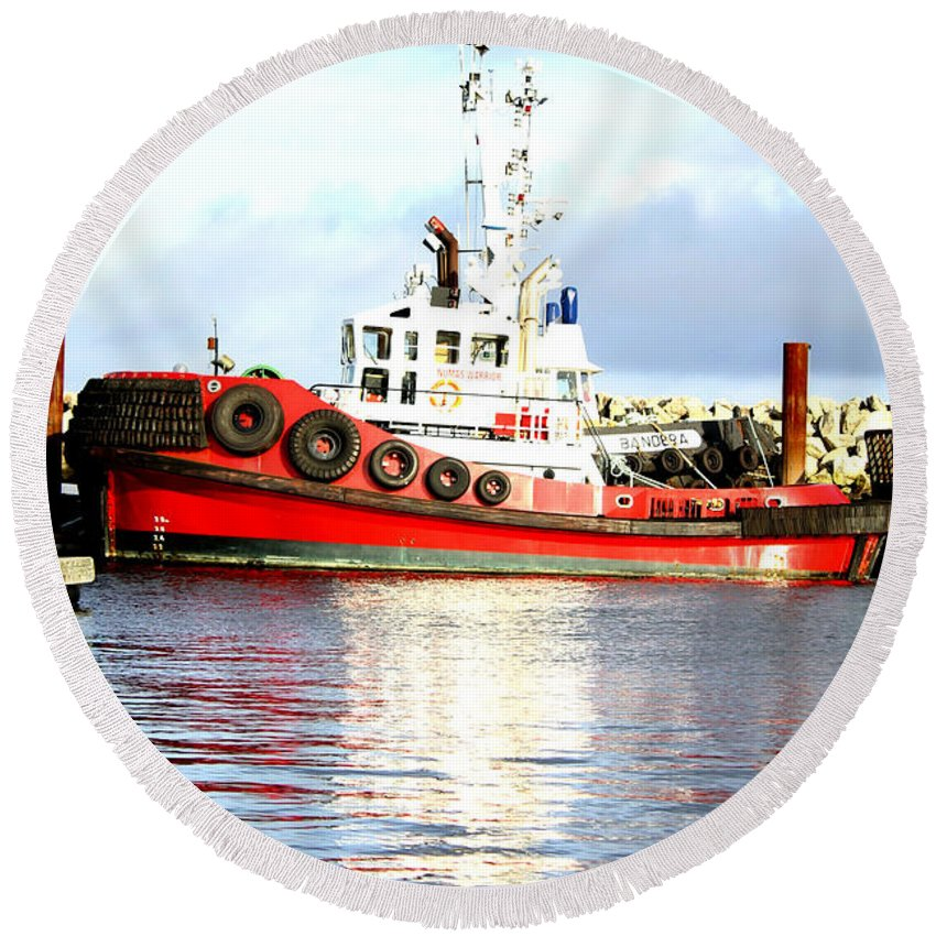 Vivid Round Beach Towel featuring the photograph Tugboat Captain by Alanna DPhoto