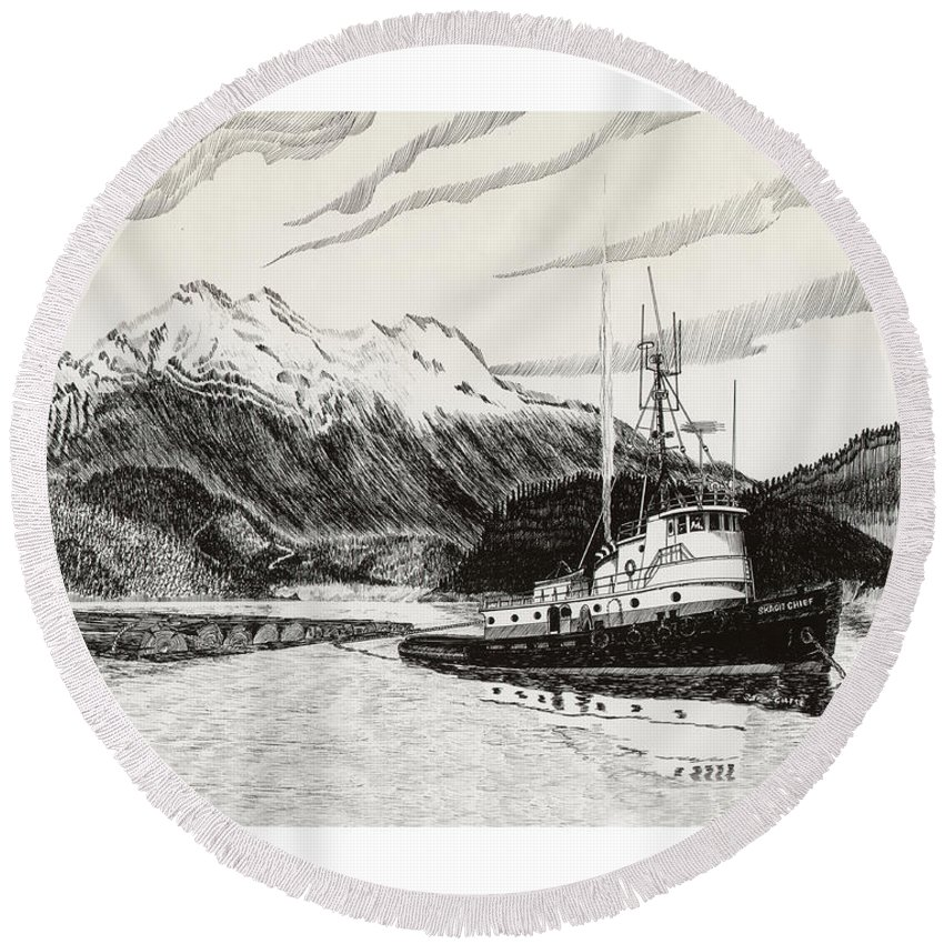 Tugboat Skagit Chief Prints Round Beach Towel featuring the drawing Skagit Chief Tugboat by Jack Pumphrey