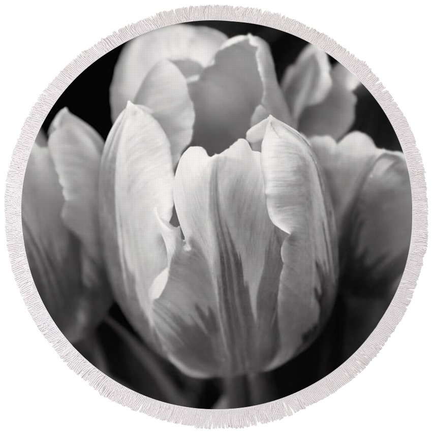 Tulip Round Beach Towel featuring the photograph Tulip Flowers Black And White by Jennie Marie Schell