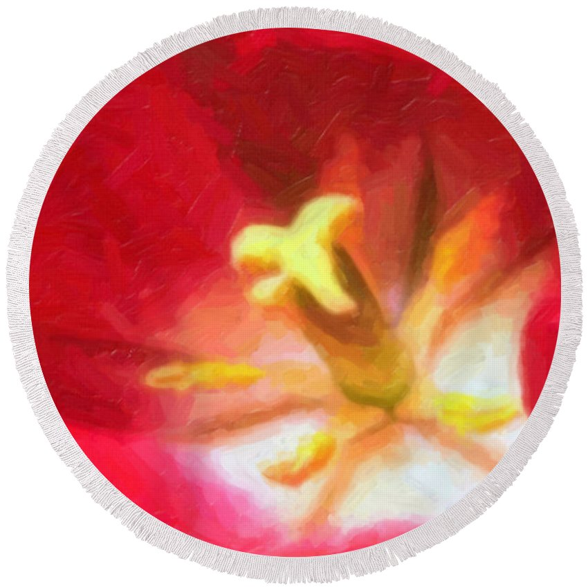 Flower Round Beach Towel featuring the painting Tulip by Sergey Bezhinets