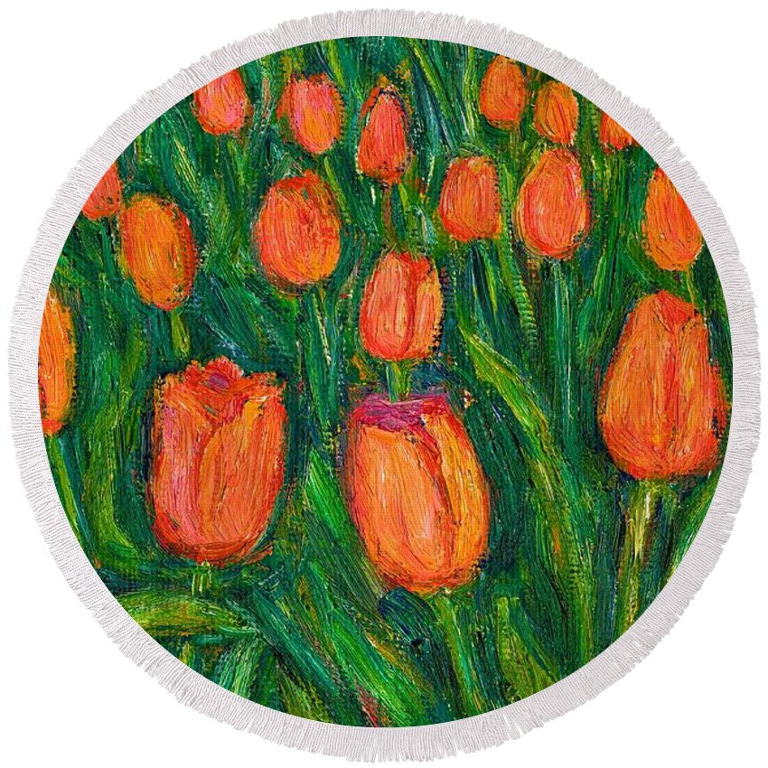 Tulips Round Beach Towel featuring the painting Tulip Twirl by Kendall Kessler