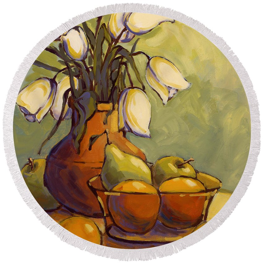 Tulips Round Beach Towel featuring the painting Tulips 1 by Konnie Kim