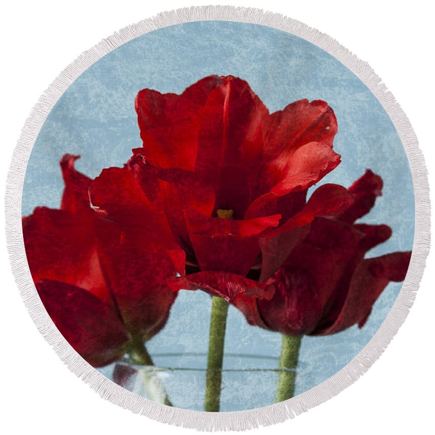 Red Tulips Round Beach Towel featuring the photograph Tulips 1 by Steve Purnell