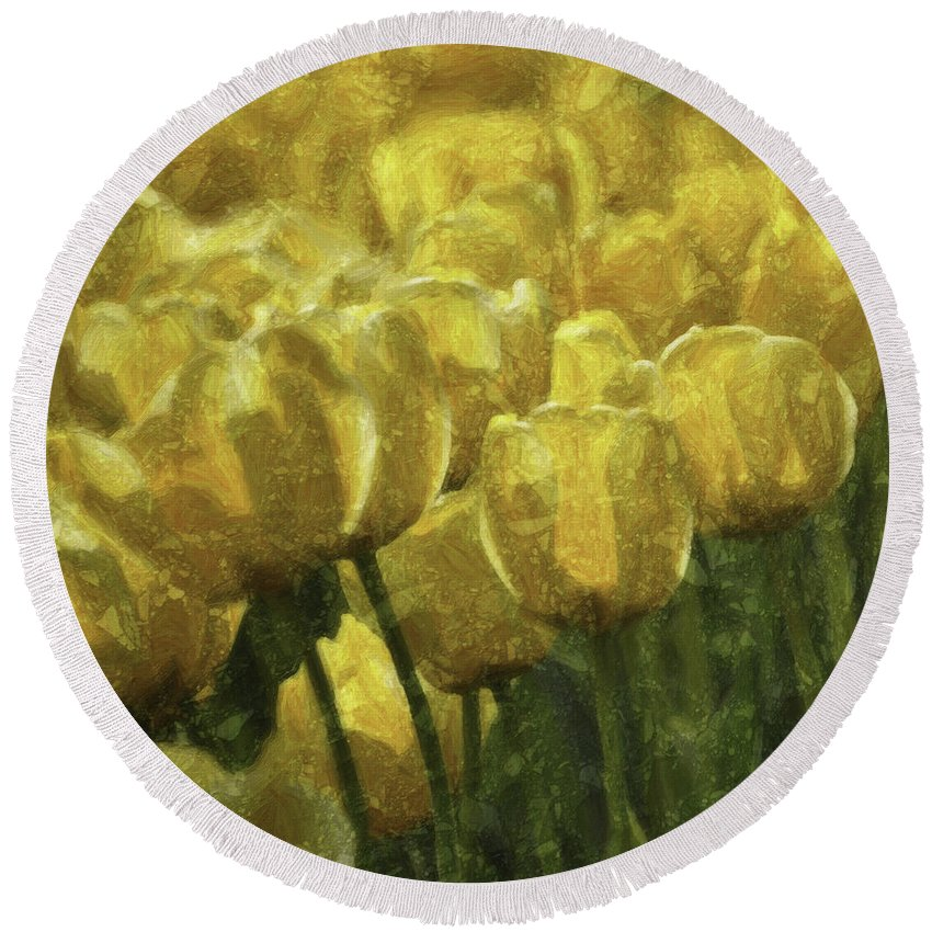 Flower Round Beach Towel featuring the photograph Tulips All Over by Trish Tritz