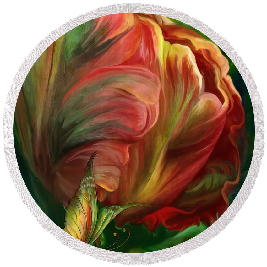 Tulip Round Beach Towel featuring the mixed media Tulips - Colors Of Paradise by Carol Cavalaris