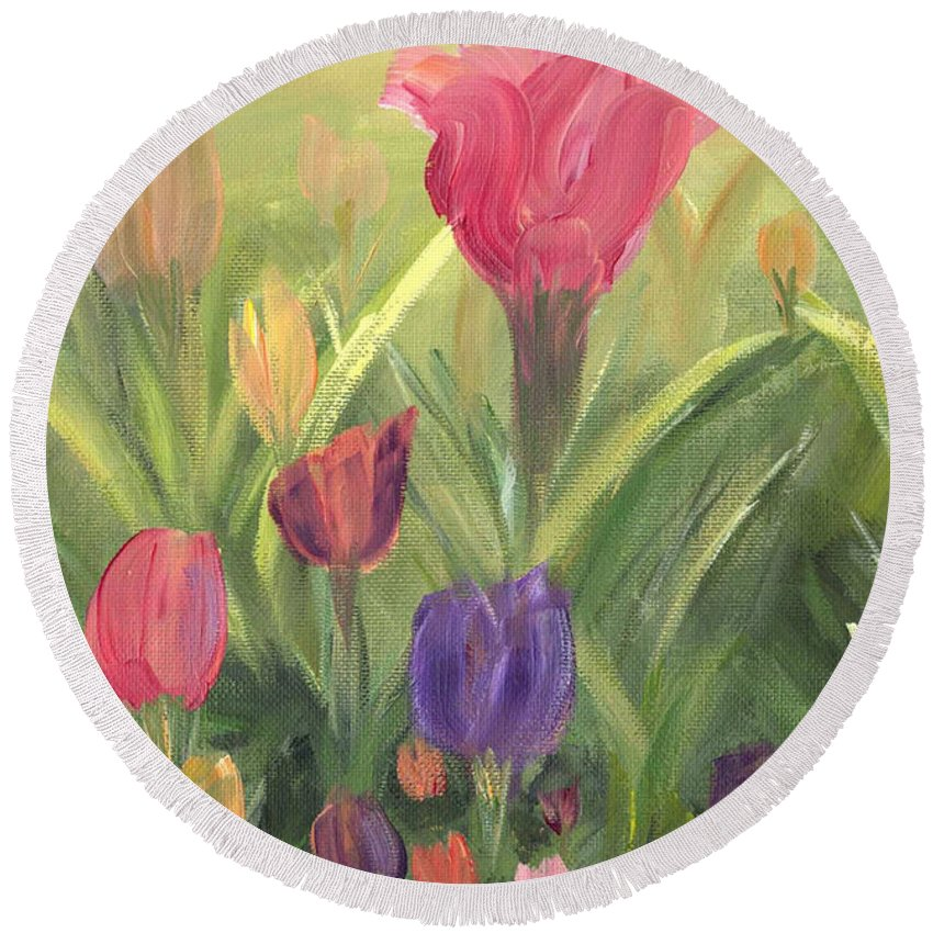 Floral Round Beach Towel featuring the painting Tulips by Donna Blackhall