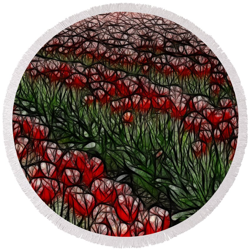 Tulips Round Beach Towel featuring the photograph Tulips Fields Are Forever by Bob Christopher