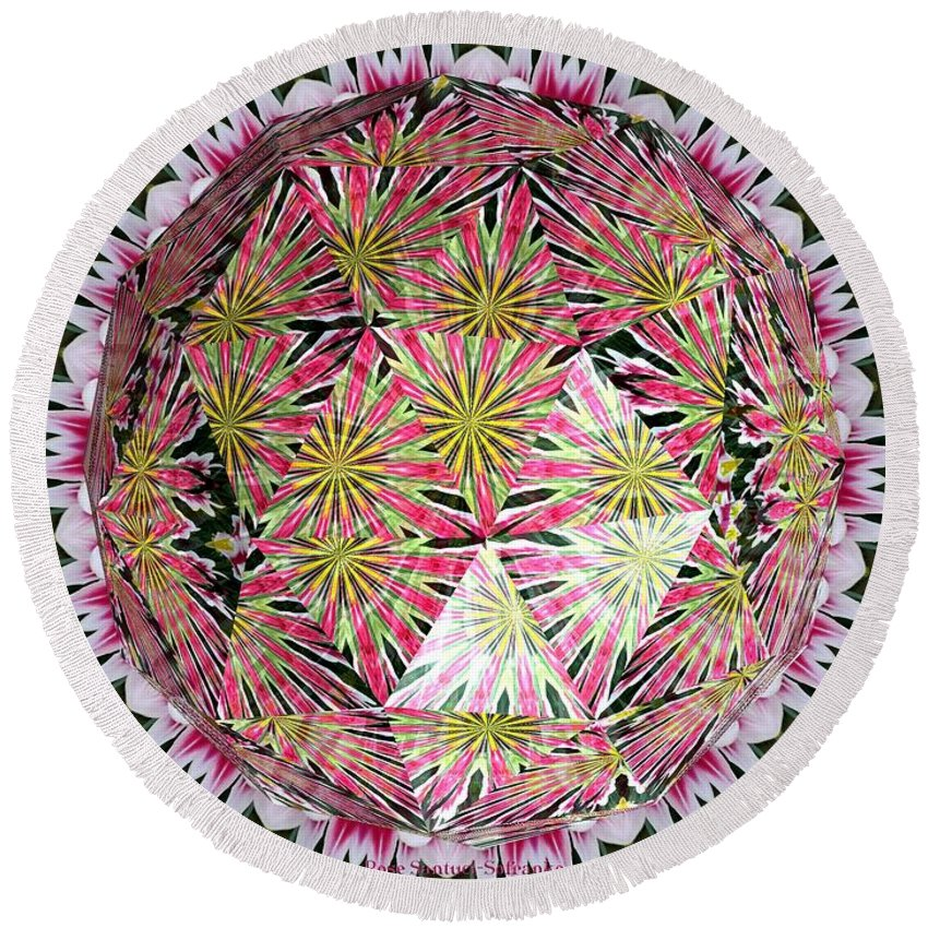 Tulips Round Beach Towel featuring the photograph Tulips Kaleidoscope Under Polyhedron Glass by Rose Santuci-Sofranko