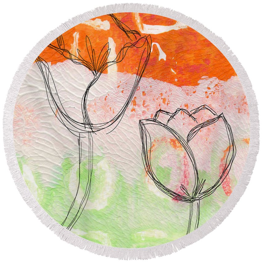 Abstract Round Beach Towel featuring the mixed media Tulips by Linda Woods