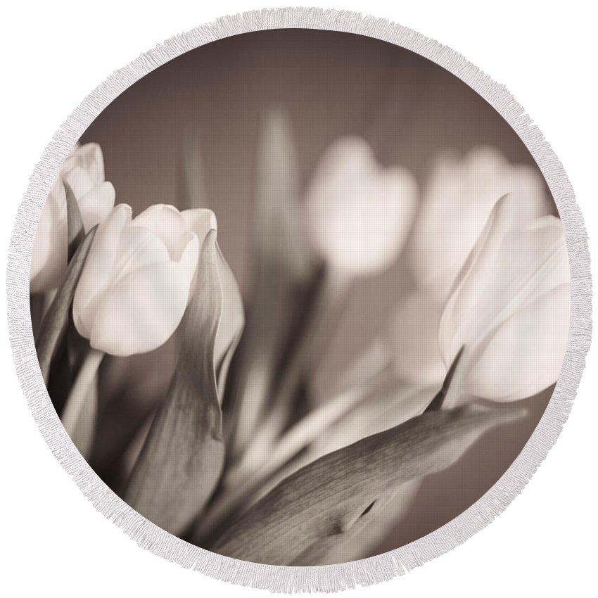 Blackandwhite Round Beach Towel featuring the photograph Tulips by Zina Zinchik