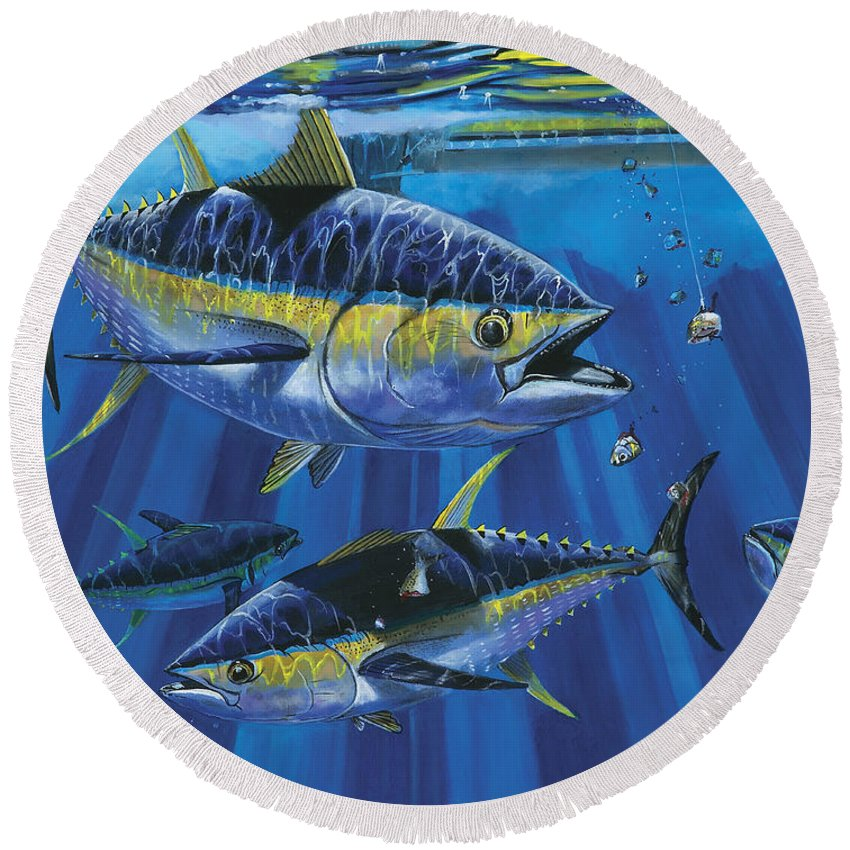 Tuna Round Beach Towel featuring the painting Tuna Blitz Off0039 by Carey Chen