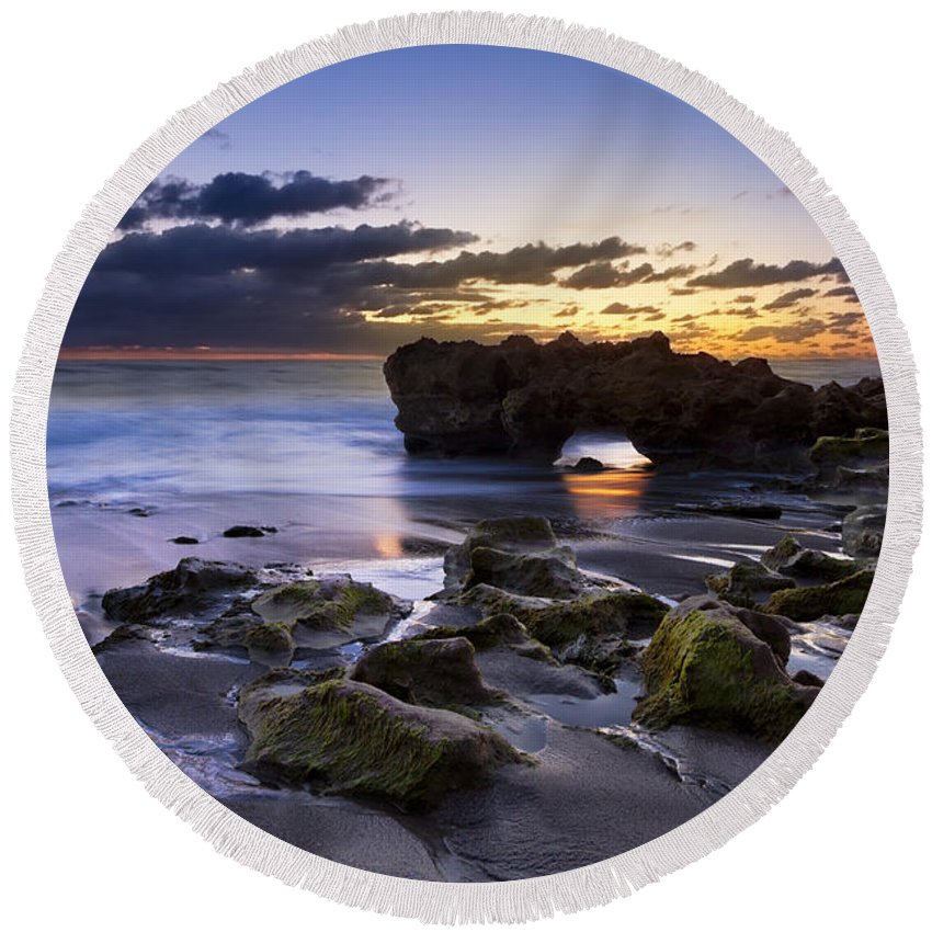 American Round Beach Towel featuring the photograph Tunnel Of Light by Debra and Dave Vanderlaan