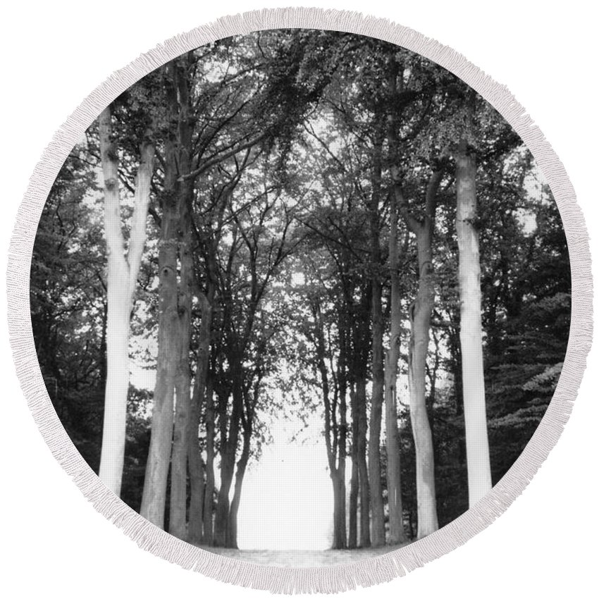 Trees Round Beach Towel featuring the photograph Tunnel Of Trees by Christine Jepsen