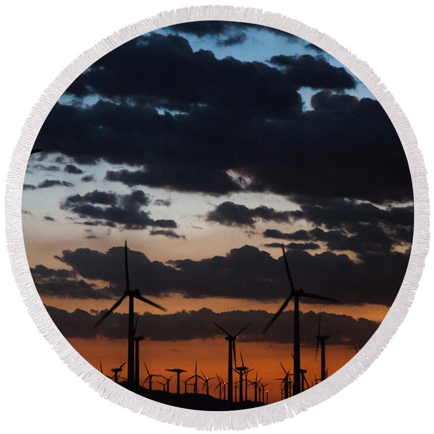 Wind Round Beach Towel featuring the photograph Turbine Sunset by John Daly