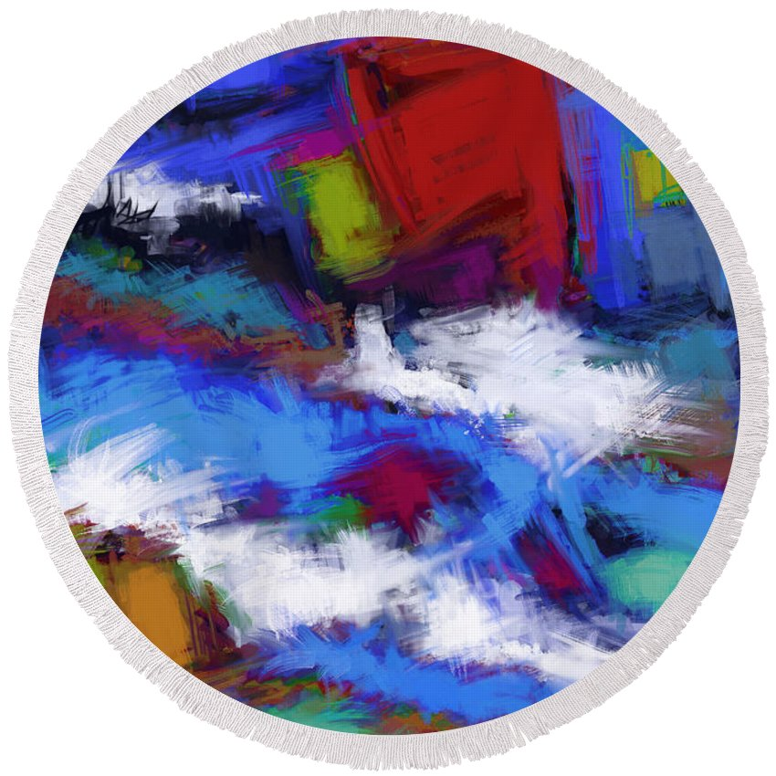 Turbulence Round Beach Towel featuring the digital art Turbulence by Keith Mills