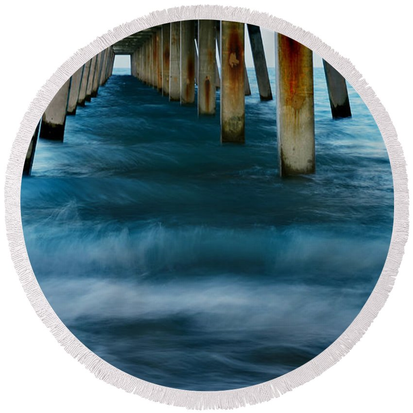 Pier Round Beach Towel featuring the photograph Turbulence by Laura Fasulo