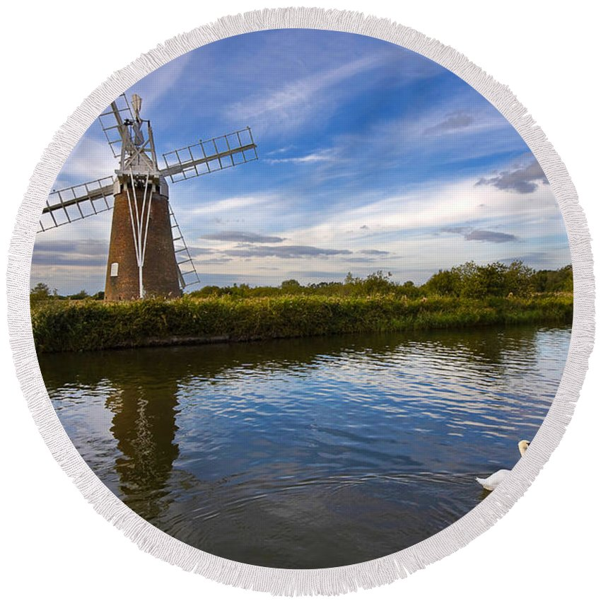 Travel Round Beach Towel featuring the photograph Turf Fen Drainage Mill by Louise Heusinkveld