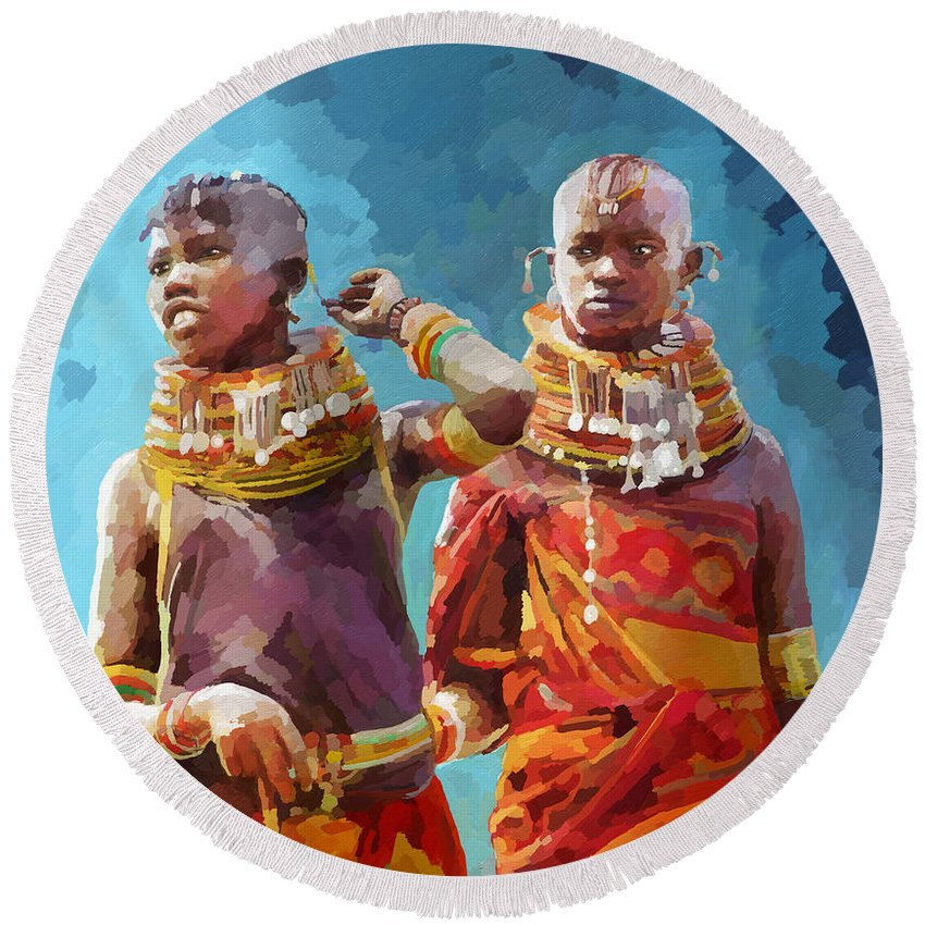Tradition Round Beach Towel featuring the painting Young Turkana Girls by Anthony Mwangi