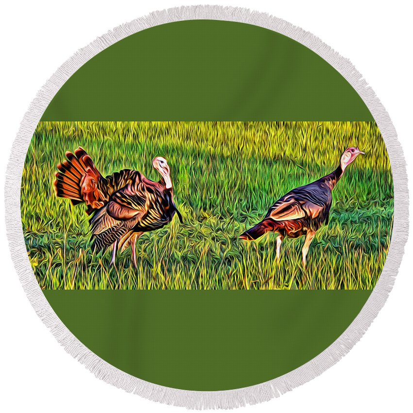 Turkey Fowl Pair Grass Florida Alicegipsonphotographs Round Beach Towel featuring the photograph Turkey Pair by Alice Gipson