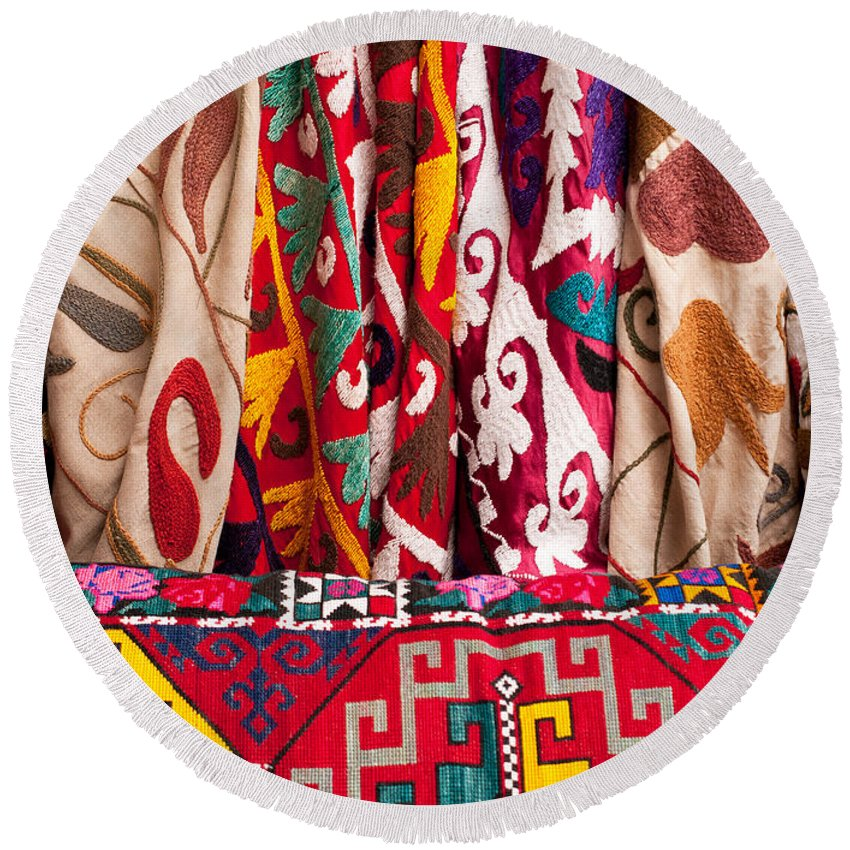 Turkish Round Beach Towel featuring the photograph Turkish Textiles 03 by Rick Piper Photography
