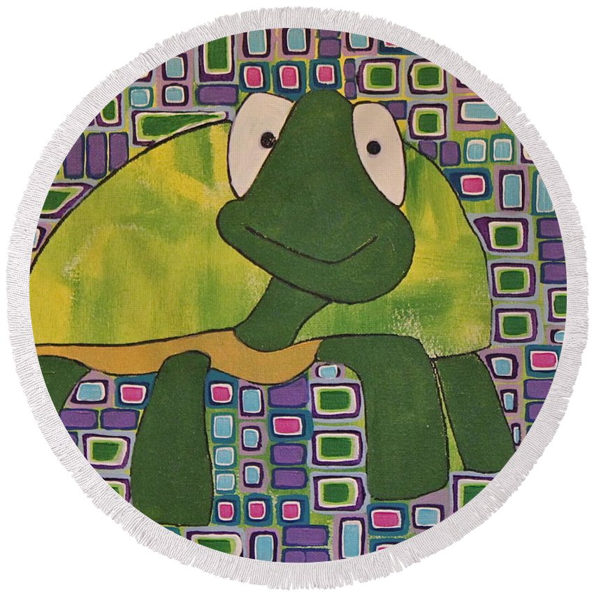 Turtle Round Beach Towel featuring the painting Turtle by Donna Howard