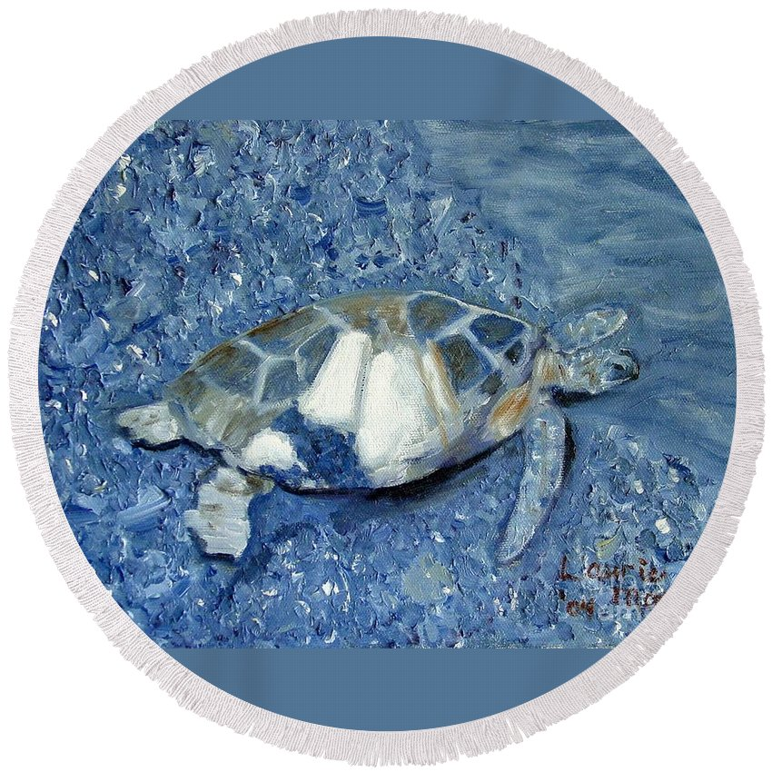 Turtle Round Beach Towel featuring the painting Turtle On Black Sand Beach by Laurie Morgan