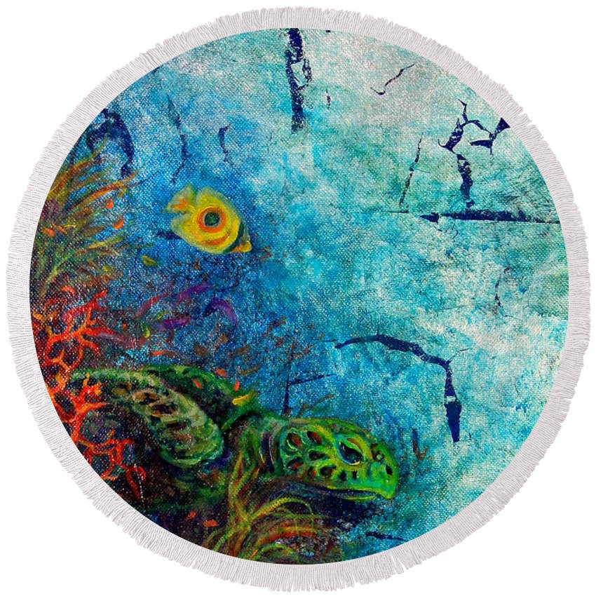 Sea Turtle Round Beach Towel featuring the painting Turtle Wall 1 by Ashley Kujan
