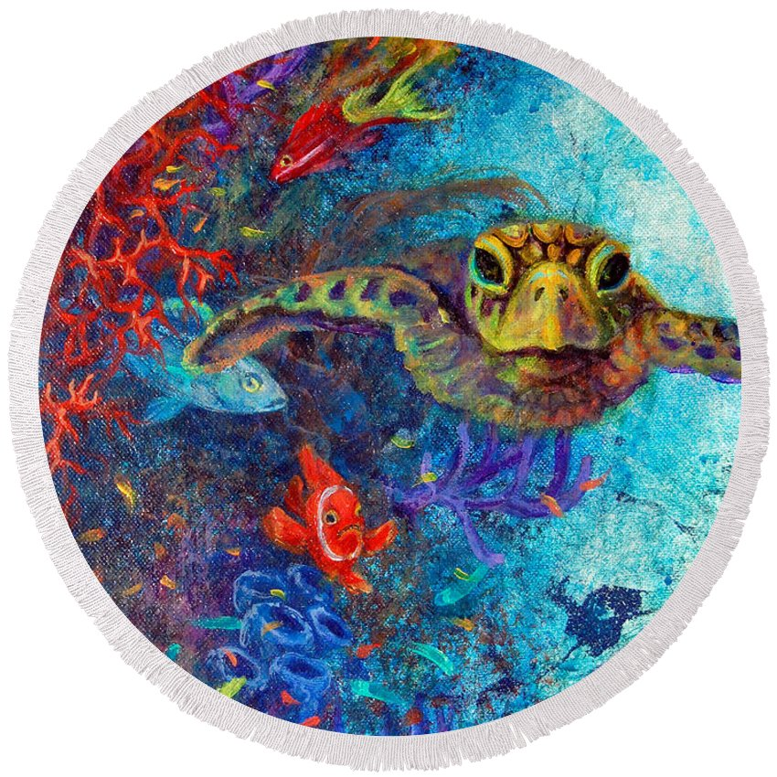 Sea Turtle Round Beach Towel featuring the painting Turtle Wall 2 by Ashley Kujan