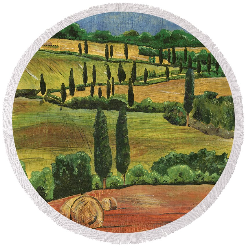 Tuscany Round Beach Towel featuring the painting Tuscan Dream 1 by Debbie DeWitt