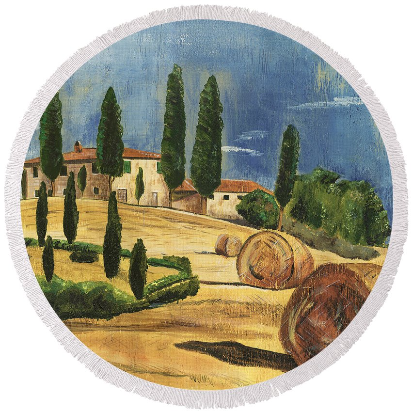 Tuscany Round Beach Towel featuring the painting Tuscan Dream 2 by Debbie DeWitt