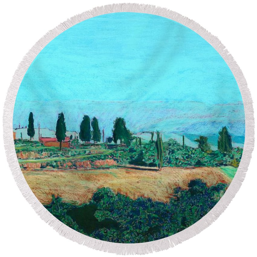 Landscape Round Beach Towel featuring the painting Tuscan Farm by Allan P Friedlander