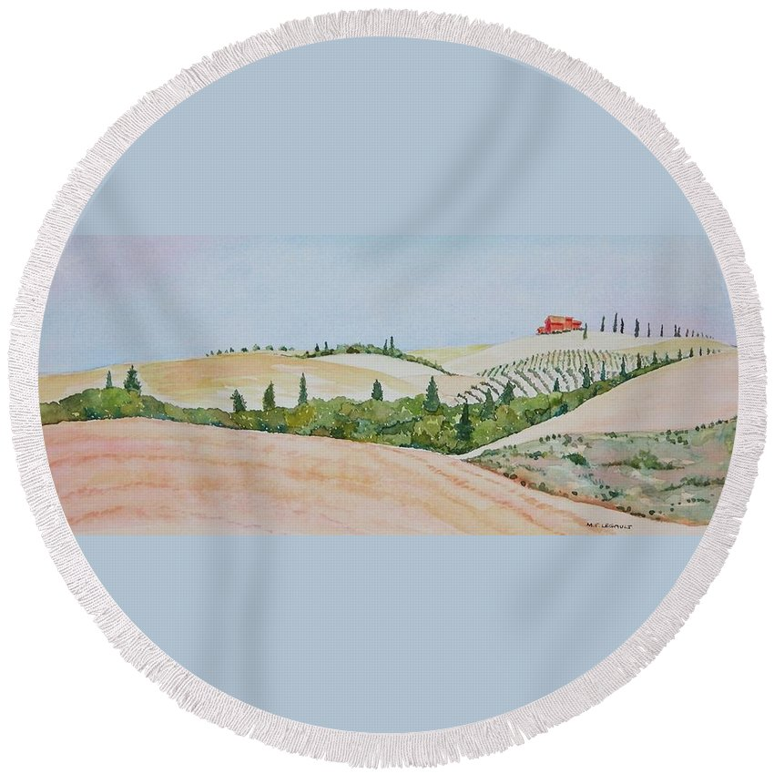 Landscape Round Beach Towel featuring the painting Tuscan Hillside One by Mary Ellen Mueller Legault
