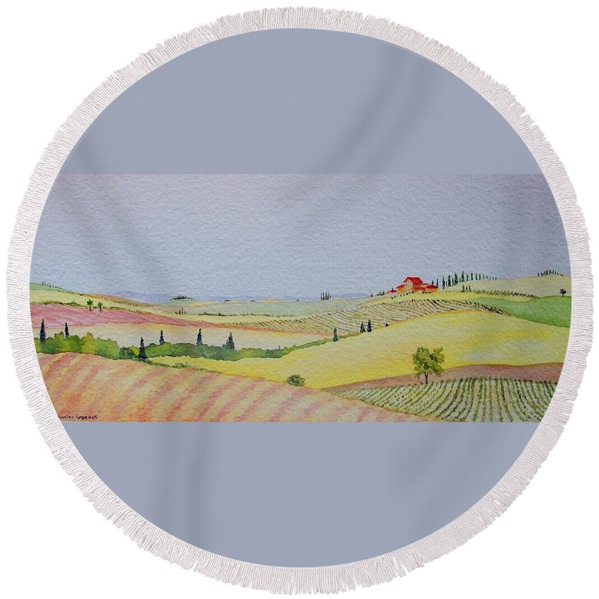 Watercolor Round Beach Towel featuring the painting Tuscan Hillside Three by Mary Ellen Mueller Legault