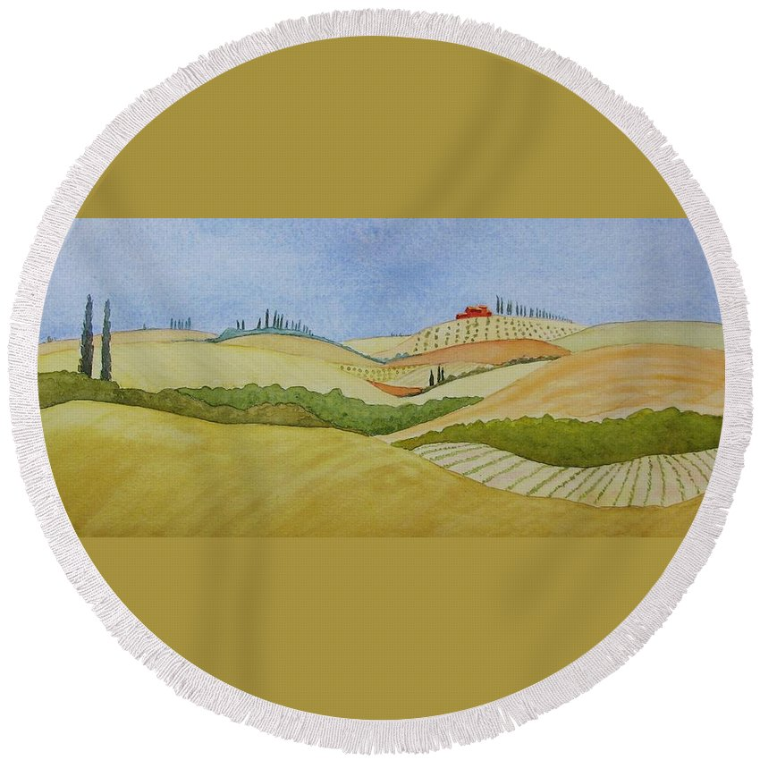 Italy Round Beach Towel featuring the painting Tuscan Hillside Two by Mary Ellen Mueller Legault
